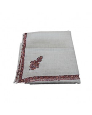Skin Color Shawl with Border Embroidery Work