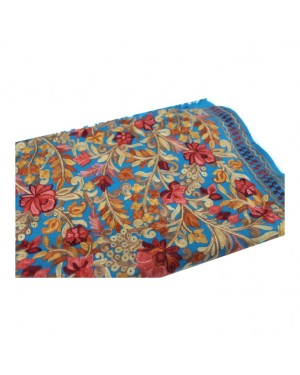Pure Woolen Stole with Heavy Floral Embroidery Work
