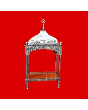 Steel Palki Sahib Super Deluxe With Tall Roof - Medium Size - For Guru Granth Sahib Ji