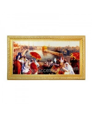 Golden Temple Hand Made Painting with Golden Plated Frame