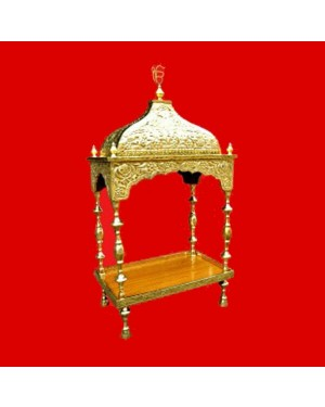 Brass Palki Sahib Super Deluxe With Tall Roof - Medium Size - For Guru Granth Sahib Ji