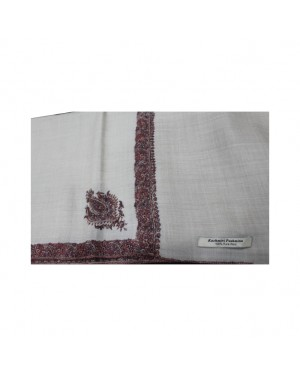 100% Pure Kashmiri Pashmina Shawl with Heavy Border Embroidery